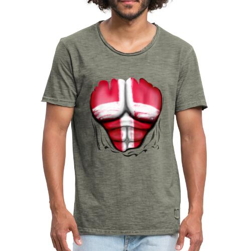 Denmark Flag Ripped Muscles, six pack, chest t-shirt - Men's Vintage T-Shirt