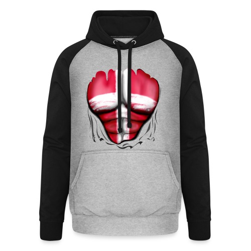 Denmark Flag Ripped Muscles, six pack, chest t-shirt - Unisex Baseball Hoodie