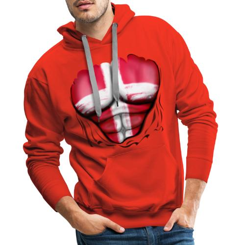 Denmark Flag Ripped Muscles, six pack, chest t-shirt - Men's Premium Hoodie