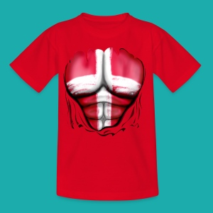 Denmark Flag Ripped Muscles, six pack, chest t-shirt - Kids' T-Shirt