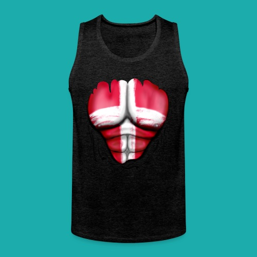 Denmark Flag Ripped Muscles, six pack, chest t-shirt - Men's Premium Tank Top