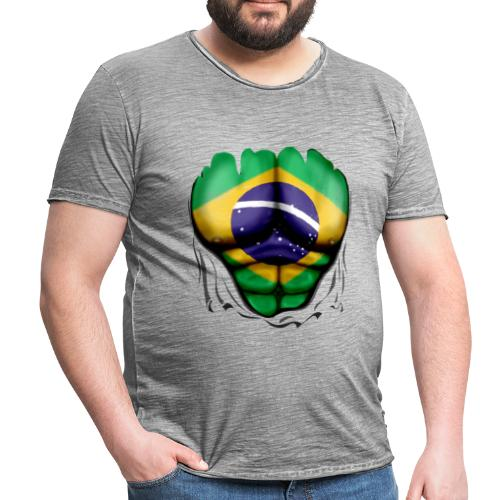 Brazil Flag Ripped Muscles, six pack, chest t-shirt - Men's Vintage T-Shirt