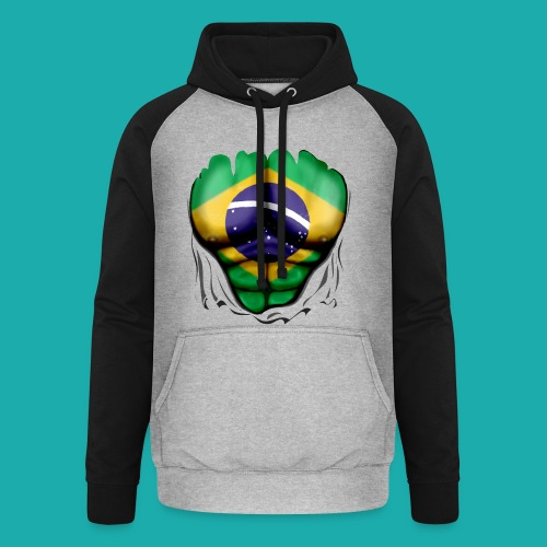 Brazil Flag Ripped Muscles, six pack, chest t-shirt - Unisex Baseball Hoodie