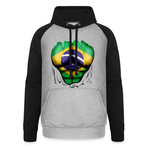 Brazil Flag Ripped Muscles, six pack, chest t-shirt - Unisex Baseball Hoodie