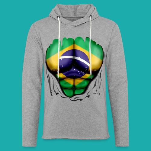 Brazil Flag Ripped Muscles, six pack, chest t-shirt - Light Unisex Sweatshirt Hoodie