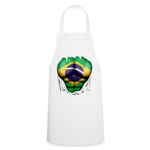 Brazil Flag Ripped Muscles, six pack, chest t-shirt - Cooking Apron