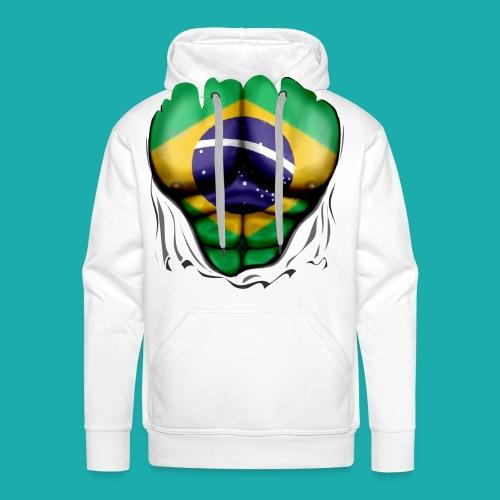 Brazil Flag Ripped Muscles, six pack, chest t-shirt - Men's Premium Hoodie