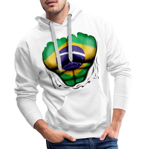 Brazil Flag Ripped Muscles, six pack, chest t-shirt - Men's Premium Hoodie