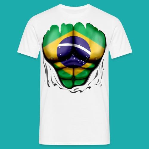 Brazil Flag Ripped Muscles, six pack, chest t-shirt - Men's T-Shirt