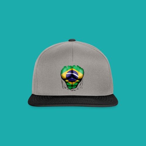 Brazil Flag Ripped Muscles, six pack, chest t-shirt - Snapback Cap