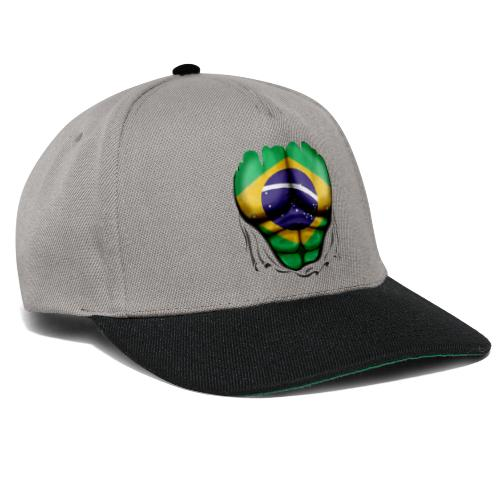 Brazil Flag Ripped Muscles, six pack, chest t-shirt - Snapback Cap