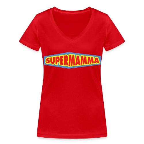 Supermamma - Økologisk T-skjorte med V-hals for kvinner fra Stanley & Stella