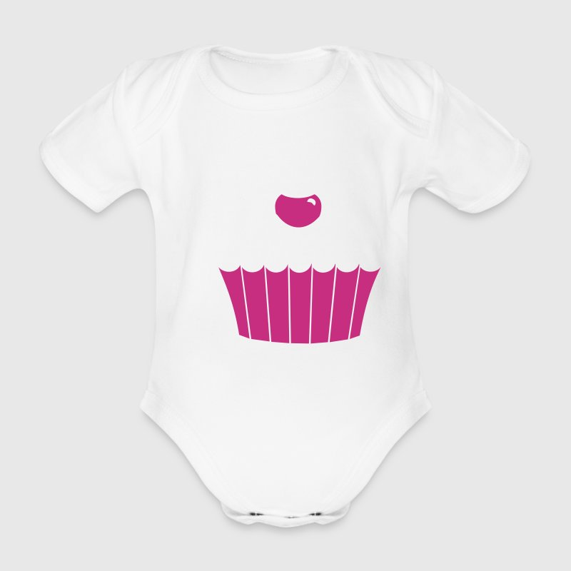 White Muffin / cup cake (3c) Baby Bodysuits - Organic Short-sleeved Baby Bodysuit