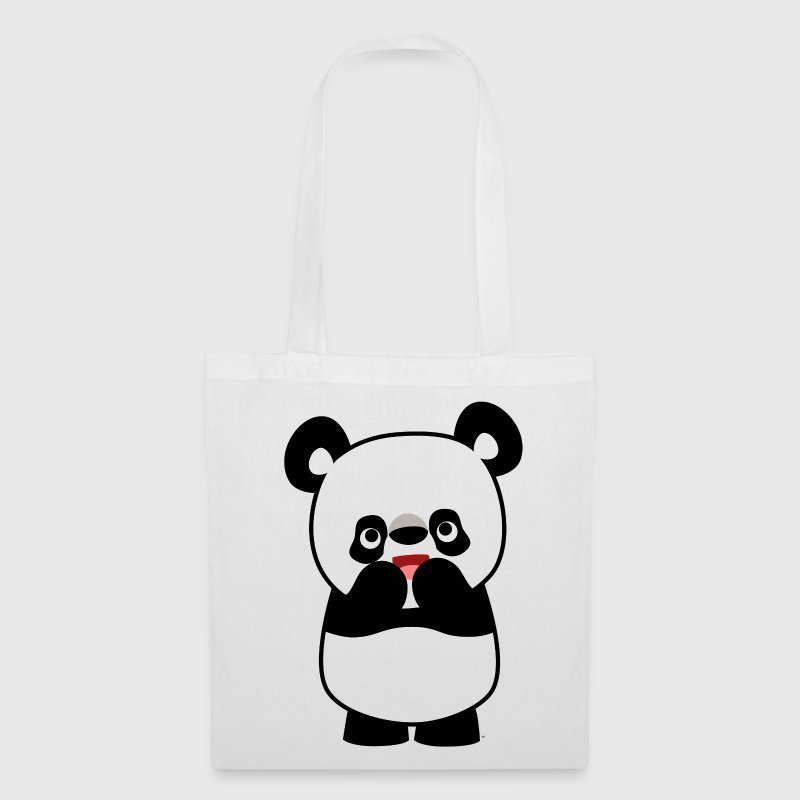 White Shy Cute Cartoon Panda by Cheerful Madness!! Bags  - Tote Bag