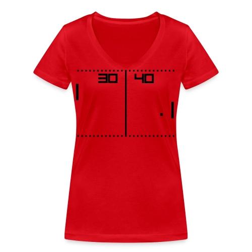 Pong Red - T-shirt ecologica da donna con scollo a V di Stanley & Stella