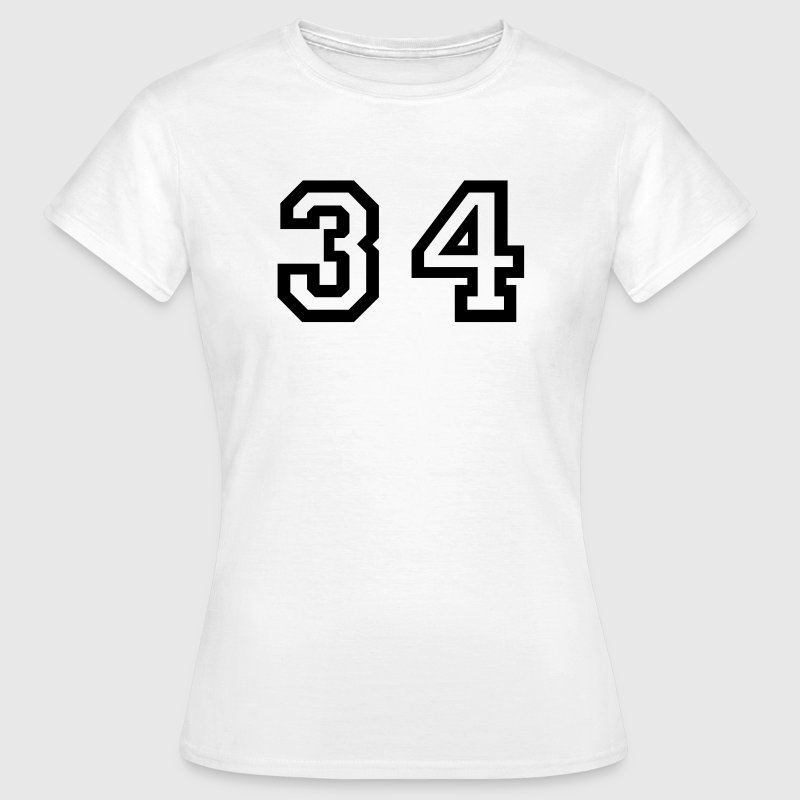 White Number - 34 - Thirty Four Women's T-Shirts - Women's T-Shirt
