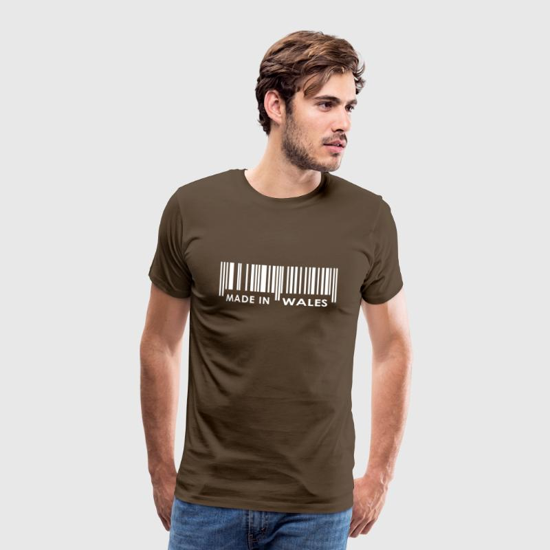 Brown Made in Wales bar code T-Shirts - Men's Premium T-Shirt