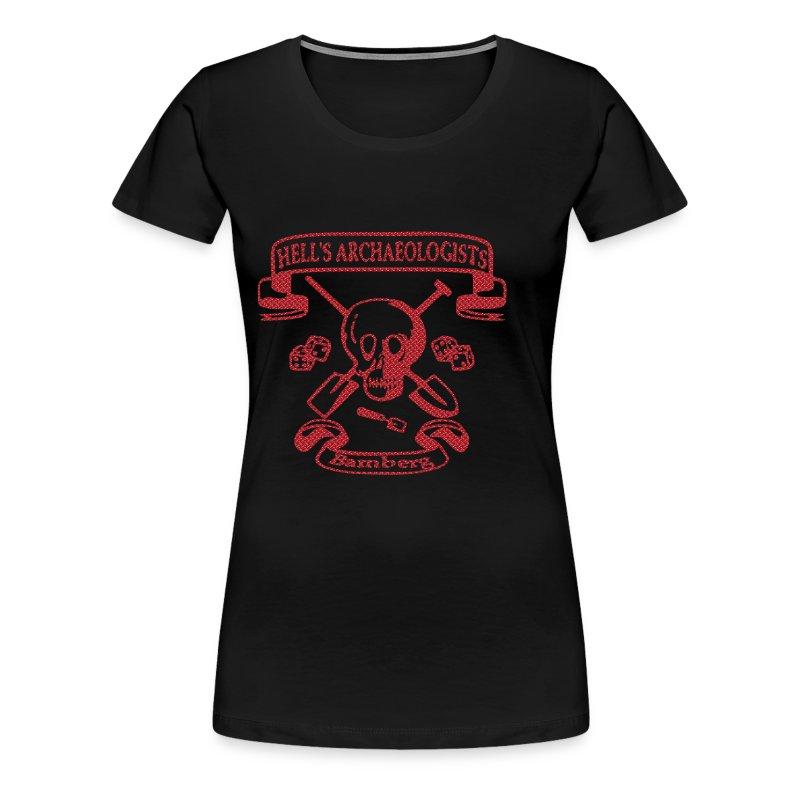 Girlie - Shirt mit dem Hells Archaeologists Motiv nur vorn, pink Glitter! - Frauen Premium T-Shirt