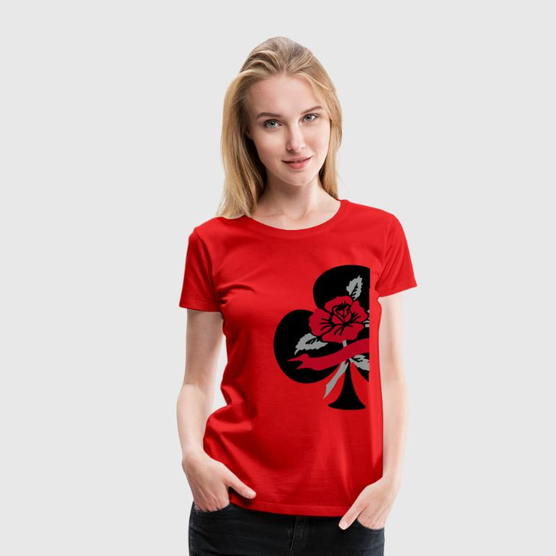 Rood Tattoo deco klaver aas roos T-shirts - Vrouwen Premium T-shirt