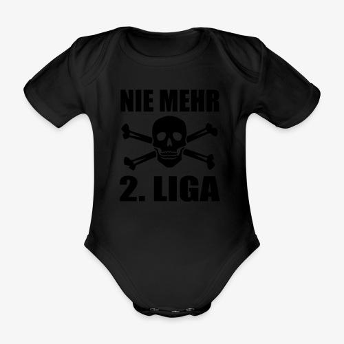 NIE MEHR 2. LIGA mit Totenkopf - Baby Bio-Kurzarm-Body