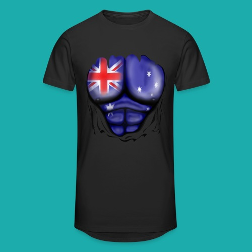 Australia Flag Ripped Muscles, six pack, chest t-shirt - Men's Long Body Urban Tee