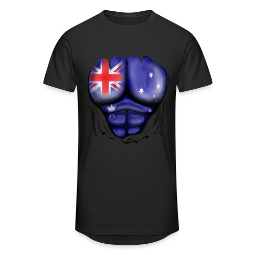 Australia Flag Ripped Muscles, six pack, chest t-shirt - Men's Long Body Urban Tee