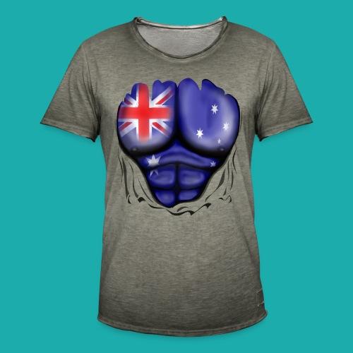 Australia Flag Ripped Muscles, six pack, chest t-shirt - Men's Vintage T-Shirt