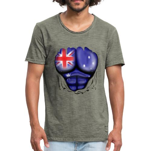 Australia Flag Ripped Muscles, six pack, chest t-shirt - Men's Vintage T-Shirt