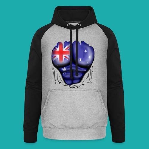 Australia Flag Ripped Muscles, six pack, chest t-shirt - Unisex Baseball Hoodie