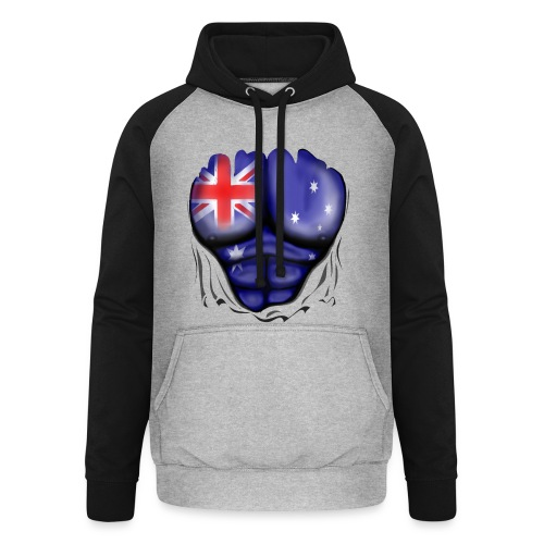 Australia Flag Ripped Muscles, six pack, chest t-shirt - Unisex Baseball Hoodie