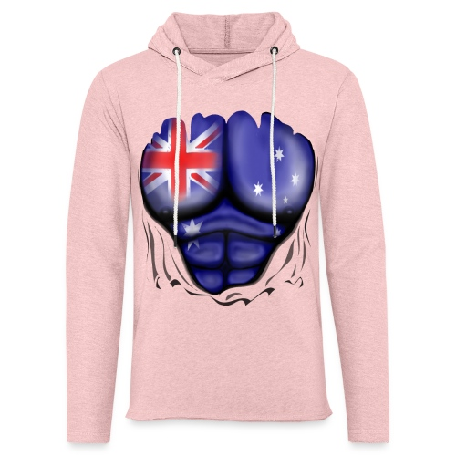 Australia Flag Ripped Muscles, six pack, chest t-shirt - Light Unisex Sweatshirt Hoodie