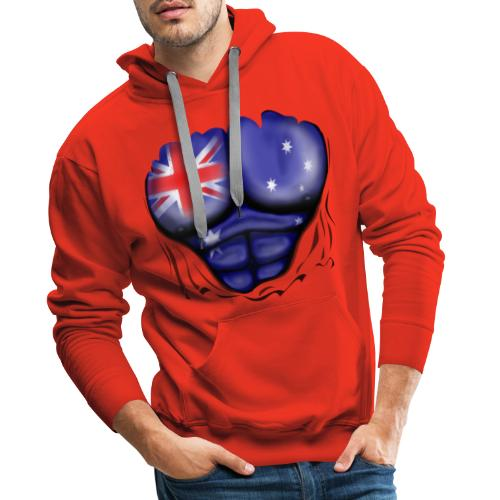 Australia Flag Ripped Muscles, six pack, chest t-shirt - Men's Premium Hoodie