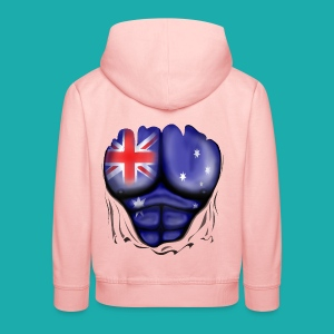 Australia Flag Ripped Muscles, six pack, chest t-shirt - Kids' Premium Hoodie