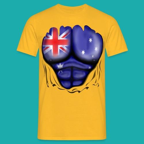 Australia Flag Ripped Muscles, six pack, chest t-shirt - Men's T-Shirt