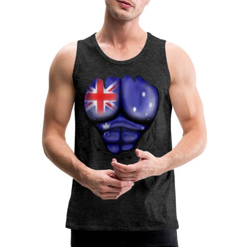 Australia Flag Ripped Muscles, six pack, chest t-shirt - Men's Premium Tank Top
