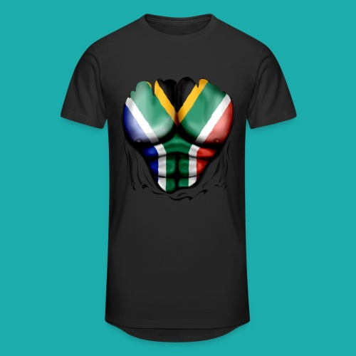South Africa Flag Ripped Muscles, six pack, chest t-shirt - Men's Long Body Urban Tee