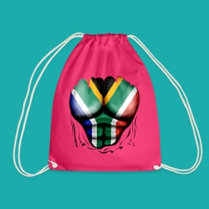 South Africa Flag Ripped Muscles, six pack, chest t-shirt - Drawstring Bag