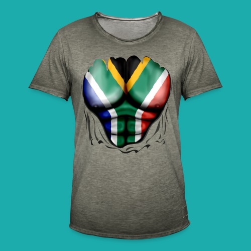 South Africa Flag Ripped Muscles, six pack, chest t-shirt - Men's Vintage T-Shirt