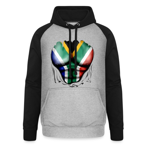 South Africa Flag Ripped Muscles, six pack, chest t-shirt - Unisex Baseball Hoodie
