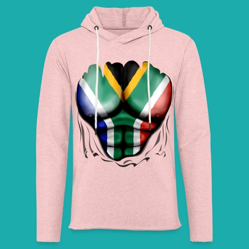 South Africa Flag Ripped Muscles, six pack, chest t-shirt - Light Unisex Sweatshirt Hoodie