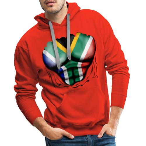 South Africa Flag Ripped Muscles, six pack, chest t-shirt - Men's Premium Hoodie