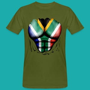 South Africa Flag Ripped Muscles, six pack, chest t-shirt - Men's Organic T-shirt