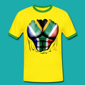 South Africa Flag Ripped Muscles, six pack, chest t-shirt - Men's Ringer Shirt