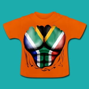 South Africa Flag Ripped Muscles, six pack, chest t-shirt - Baby T-Shirt