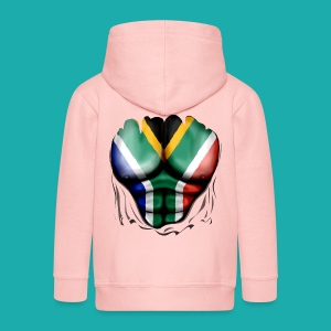 South Africa Flag Ripped Muscles, six pack, chest t-shirt - Kids' Premium Zip Hoodie