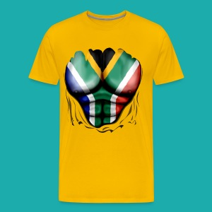 South Africa Flag Ripped Muscles, six pack, chest t-shirt - Men's Premium T-Shirt