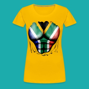 South Africa Flag Ripped Muscles, six pack, chest t-shirt - Women's Premium T-Shirt