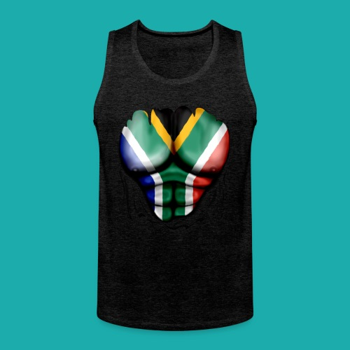 South Africa Flag Ripped Muscles, six pack, chest t-shirt - Men's Premium Tank Top