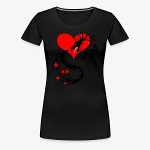 Silber-Drache im Herzen / Silver Dragon in the Heart - Frauen T-Shirt - Frauen Premium T-Shirt