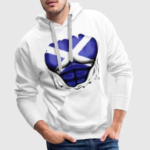 Scotland Flag Ripped Muscles, six pack, chest t-sh - Men's Premium Hoodie